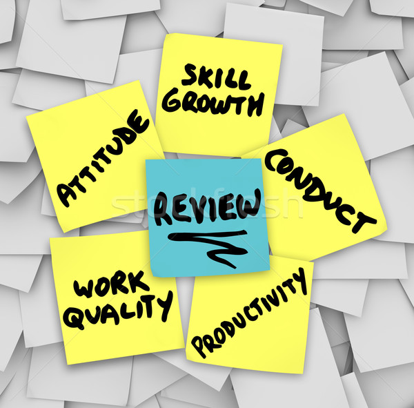 Performance Review Sticky Notes Attitude Conduct Work Quality Pr Stock photo © iqoncept