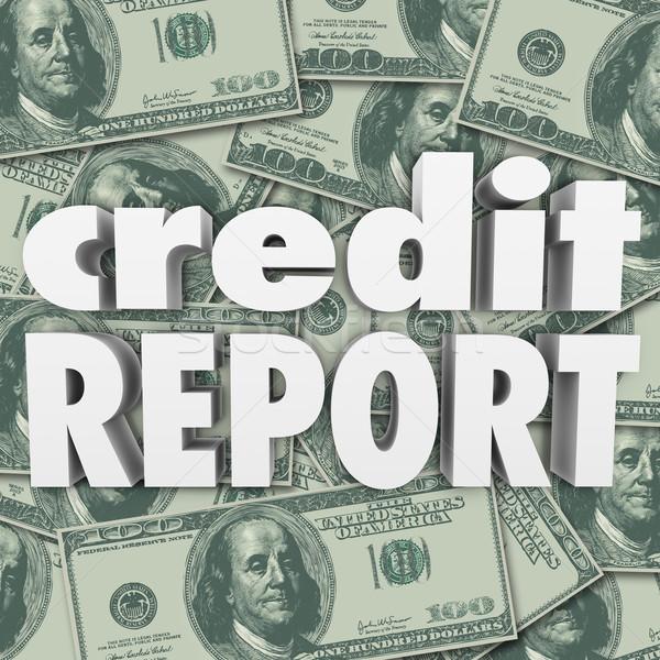 Kredit Bericht Punktzahl Geld Cash 3D Stock foto © iqoncept