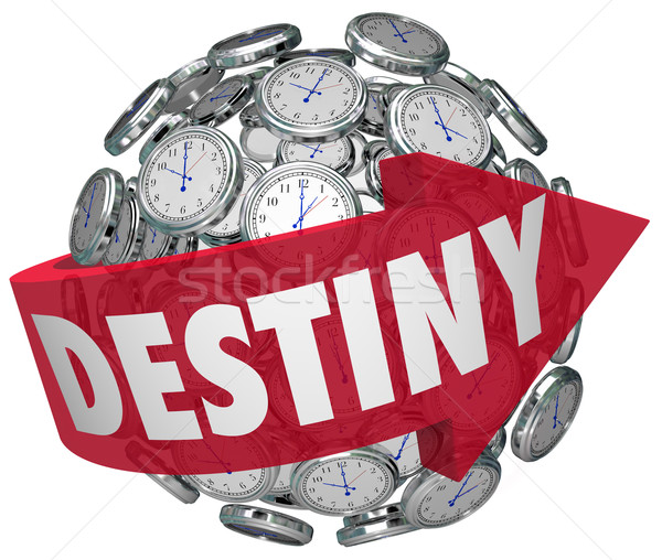 Destiny Word Arrow Around Clocks Future Fate Fortune Telling Stock photo © iqoncept