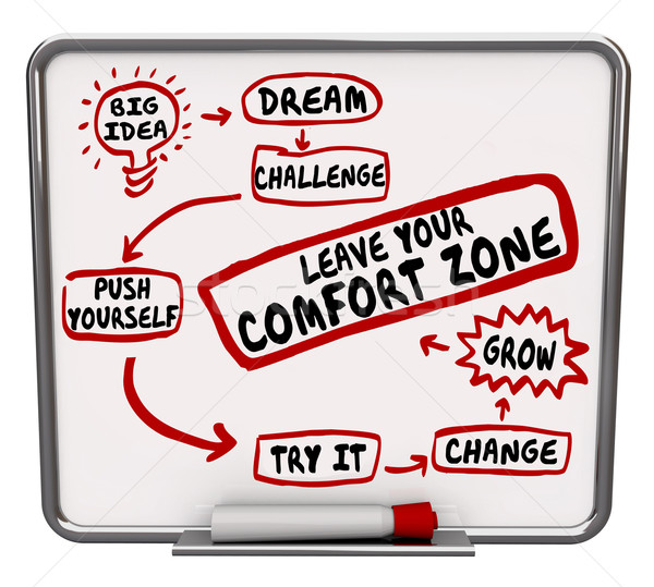 Leave Your Comfort Zone Push Yourself Change Grow Diagram Stock photo © iqoncept