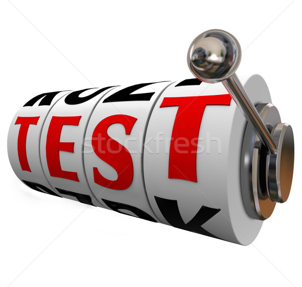 Test Word Slot Machine Wheels Dials Quiz Evaluation Uncertainty Stock photo © iqoncept