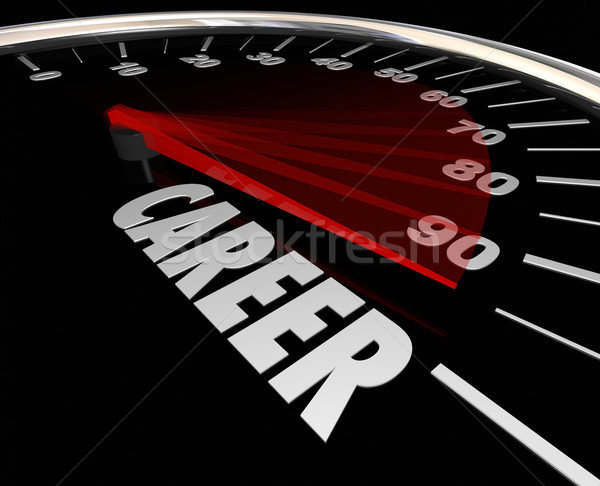 Career Word Speedometer Advancement Job Promotion Work Stock photo © iqoncept