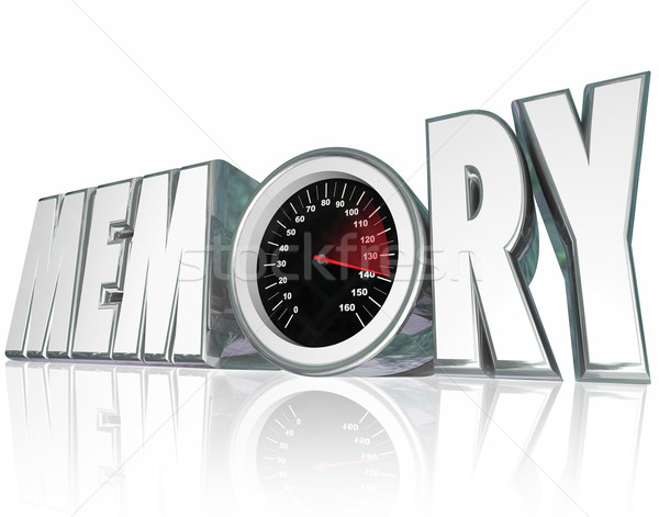 Memory 3d Word Speedometer Improving Recall Mental Health Stock photo © iqoncept