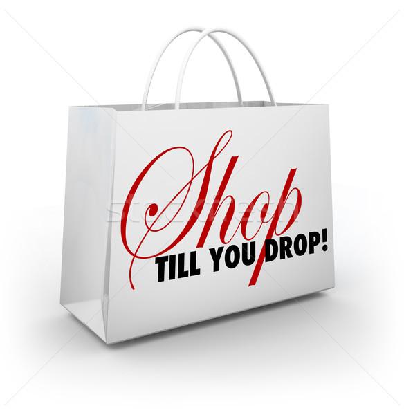 Shop Till You Drop Shopping Bag Sale Discount Advertising Stock photo © iqoncept