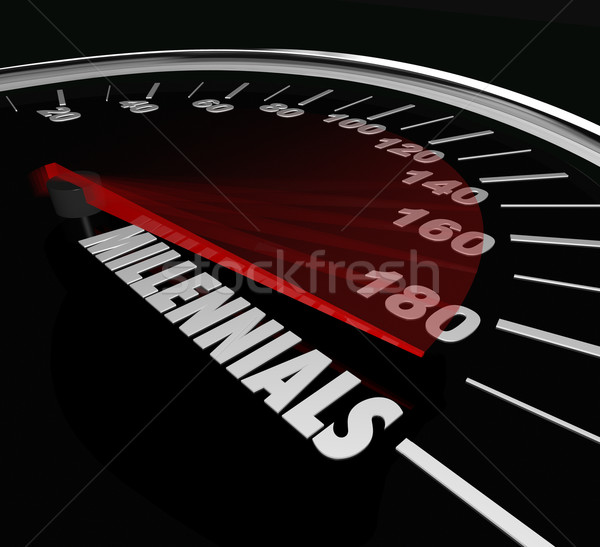 Millennials Speedometer Youth Age Speed Automotive Transportatio Stock photo © iqoncept