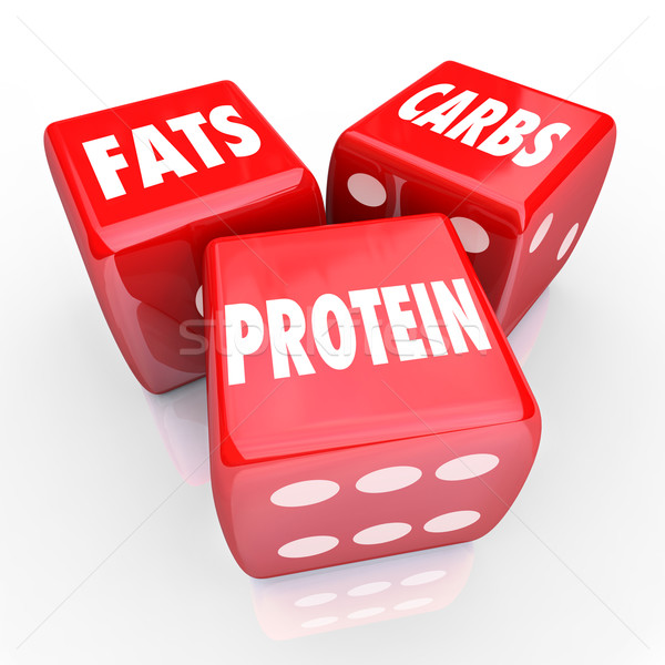 Fats Carbs Proteins 3 Red Dice Food Nutrition Balanced Eating Stock photo © iqoncept
