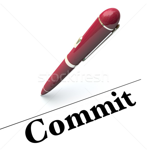 Commit Word Signature Line Pen Signing Name Official Contract Ap Stock photo © iqoncept