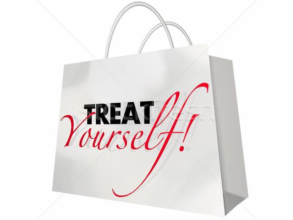Jezelf boodschappentas weelderig luxe verkoop Stockfoto © iqoncept