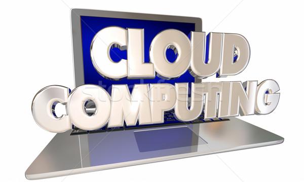 Dizüstü bilgisayar çevrimiçi dosya depolama uygulaması Stok fotoğraf © iqoncept
