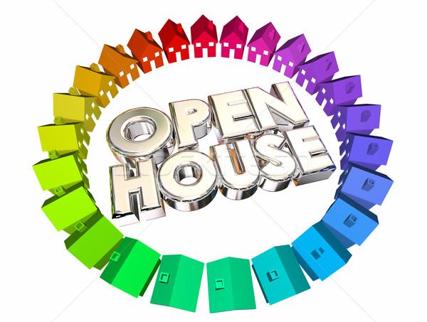 Abrir casa casas venda palavras ilustração 3d Foto stock © iqoncept