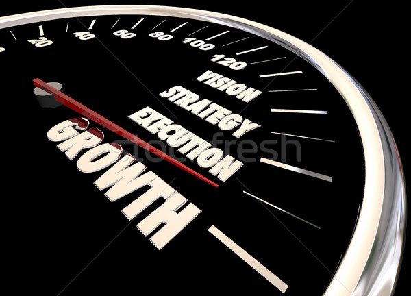 Growth Vision Strategy Execution Speedometer 3d Animation Stock photo © iqoncept