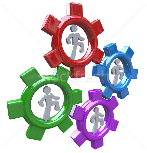 People Running in Gears to Power Teamwork and Progress Stock photo © iqoncept