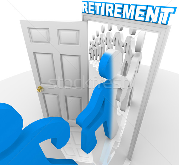 People Stepping Through the Retirement Doorway to Retire Stock photo © iqoncept