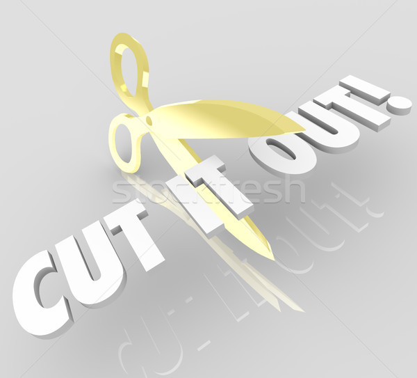 Cut It Out Words Scissors Stop Reduce Cutting Costs Stock photo © iqoncept