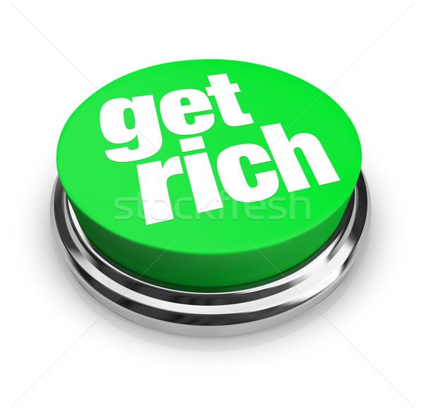 Ricos verde botón palabras dinero seguridad Foto stock © iqoncept