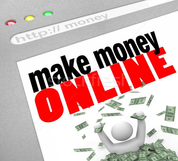 Dinero línea web Screen navegador Foto stock © iqoncept