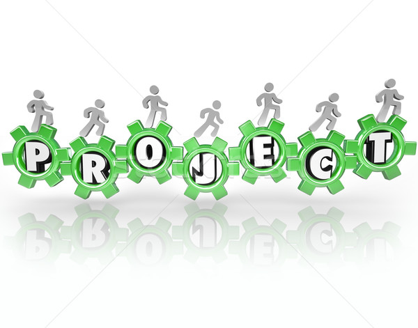 Project Word Gears People Working Together Accomplish Task Stock photo © iqoncept