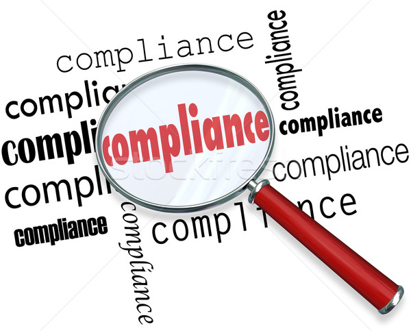 Compliance Words Magnifying Glass Rules Regulations Stock photo © iqoncept