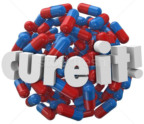 Guérir pilules traitement maladie mots Photo stock © iqoncept