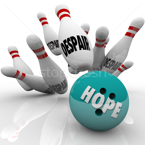 Hope Vs Despair Bowling Bowl Faith Conquers Doubt Stock photo © iqoncept