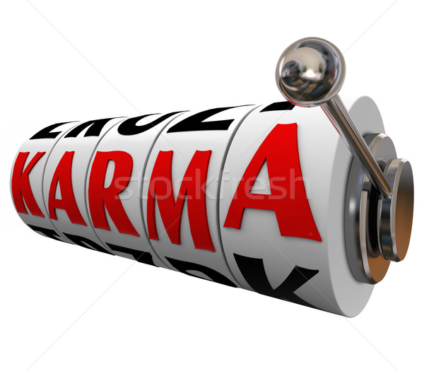 Karma Word Slot Wheels Destiny Good Luck Fate Bet Stock photo © iqoncept
