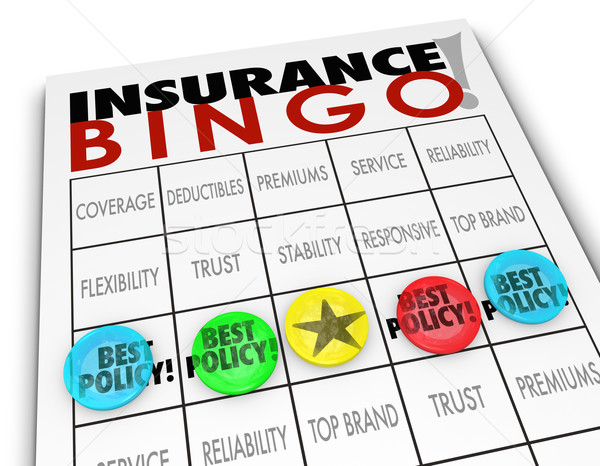 Insurance Bingo Choosing Best Policy Plan Coverage Premium Stock photo © iqoncept