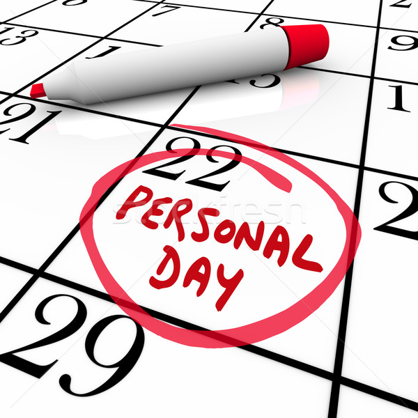 Stock photo: Personal Day Vacation Time Off Calendar Circled Date
