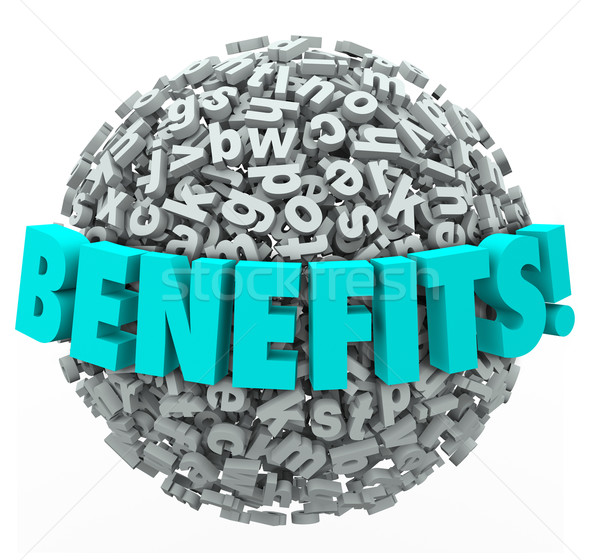 Benefits Rewards Compensation Word 3d Letters Ball Sphere Stock photo © iqoncept