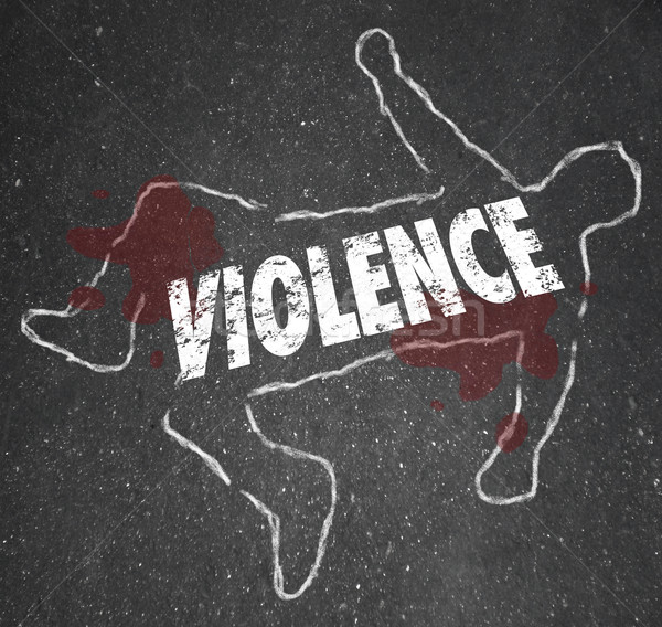 Stock photo: Violence Chalk Outline Word Dead Body Murdered Killed