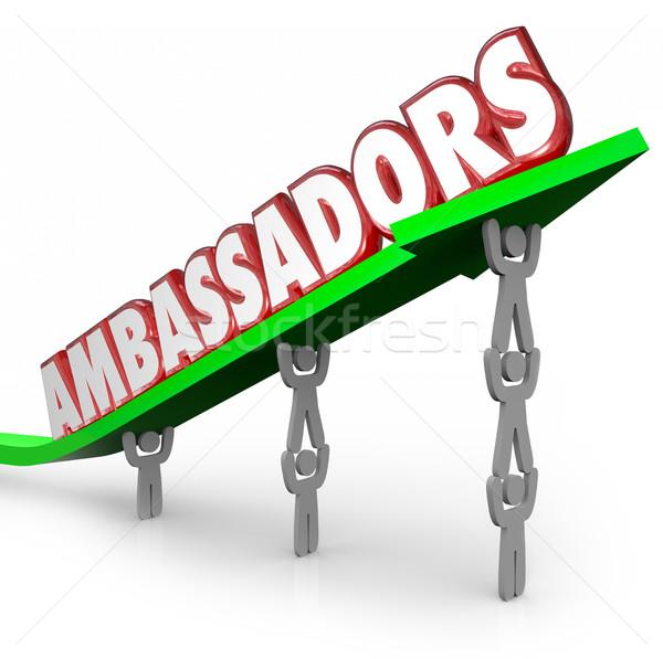 Ambassadors 3d Words People Lifting Arrow Diplomats Representati Stock photo © iqoncept