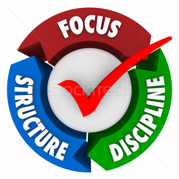 Focus Structure Discipline Check Mark Control Commitment Achieve Stock photo © iqoncept