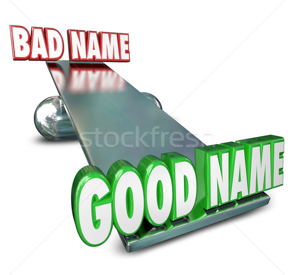 Good Vs Bad Name Weighing Options Best Brand Identity New Relaun Stock photo © iqoncept