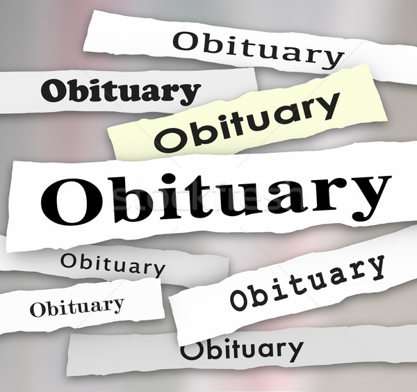 Obituary Newspaper Headline Death Notice Memorial Stock photo © iqoncept