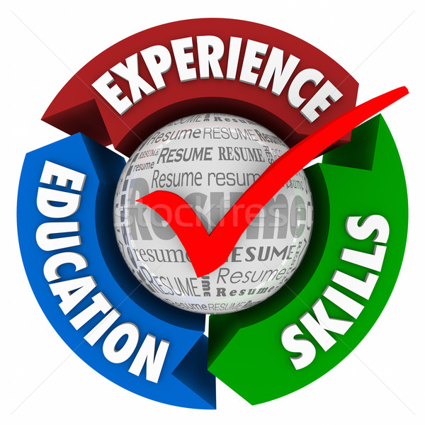 Experience Skills Education Resume Check Mark Arrows Circle Stock photo © iqoncept