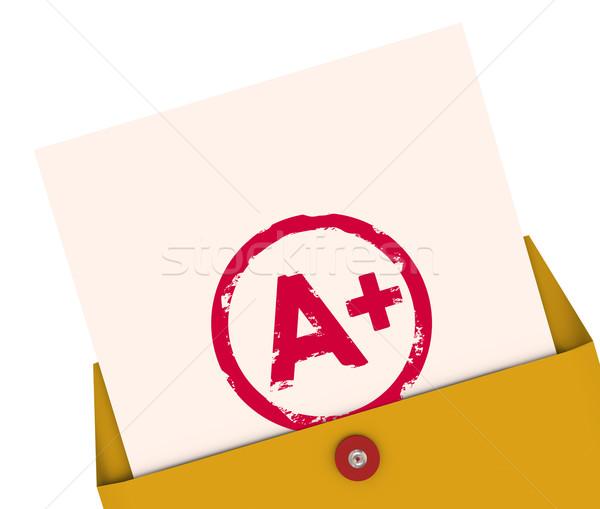 Report Card A+ Plus Top Grade Rating Review Evaluation Score Stock photo © iqoncept