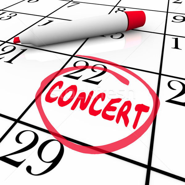 Concert Calendar Reminder Schedule Singing Music Performance Eve Stock photo © iqoncept