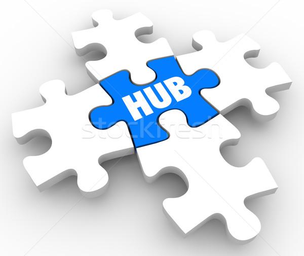 Hub Central Connection Middle Network Location Focus Puzzle Piec Stock photo © iqoncept