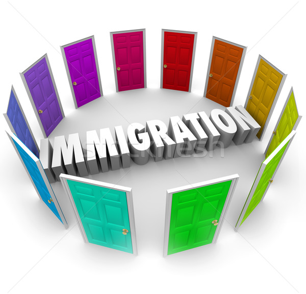 Immigration Word Doorways International Borders Refugee Crisis E Stock photo © iqoncept