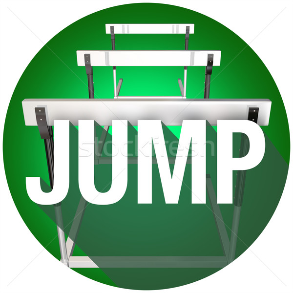 Jump Hurdles Avoid Overcome Risk Danger Challenge Circle Stock photo © iqoncept