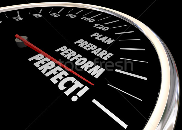 Plan Practice Perform Perfect Speedometer Words 3d Illustration Stock photo © iqoncept