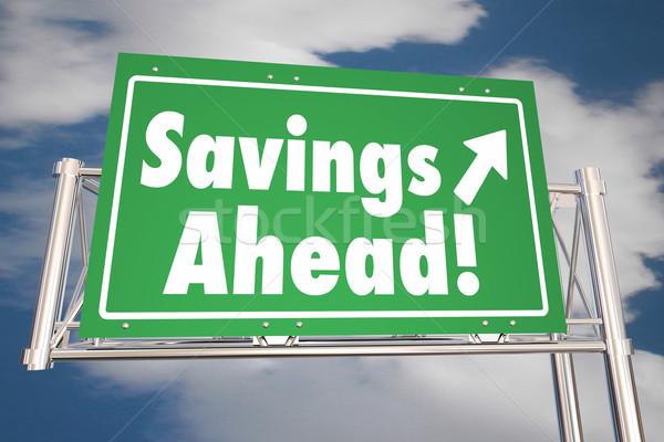 Megtakarított pénz előre megtakarítás út autóút felirat Stock fotó © iqoncept