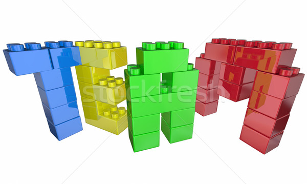 Team Building Exercise Project Task Blocks Teamwork 3d Illustrat Stock photo © iqoncept