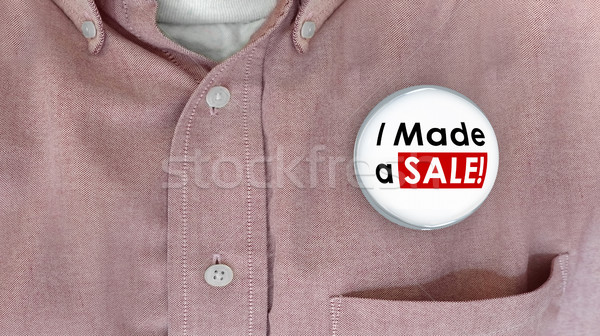 I Made a Sale Buttons Pins Selling Deal Salesman 3d Illustration Stock photo © iqoncept