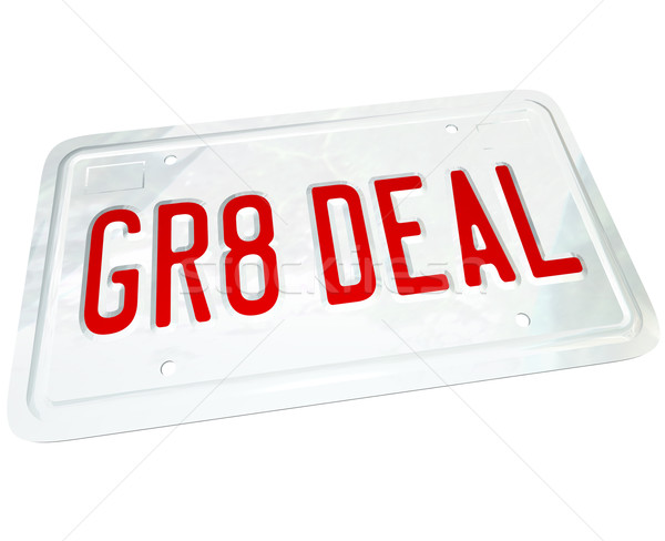 Gr8 Deal License Plate Great Price on a Used or New Car Stock photo © iqoncept