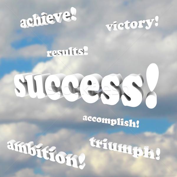 Stockfoto: Succes · woorden · wolken · doelen · geslaagd · leven