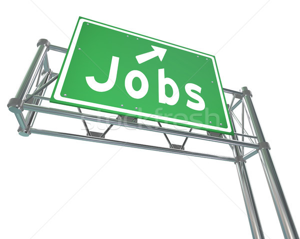 Jobs Word Green Freeway Sign Pointing New Career Employment Stock photo © iqoncept