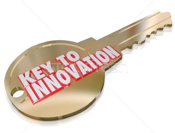 Kulcs innováció apró javulás kreativitás képzelet Stock fotó © iqoncept