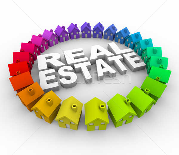 Real Estate - Words Surrounded by Houses Stock photo © iqoncept