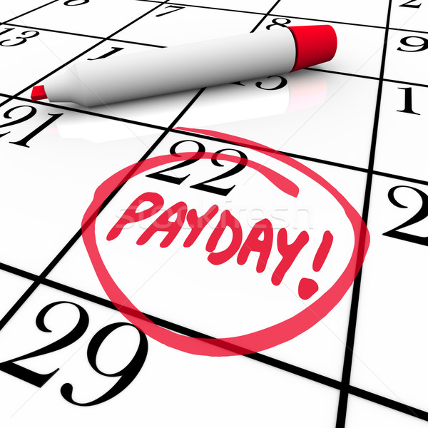 Stock photo: Payday Word Circled Calendar Income Wages Date
