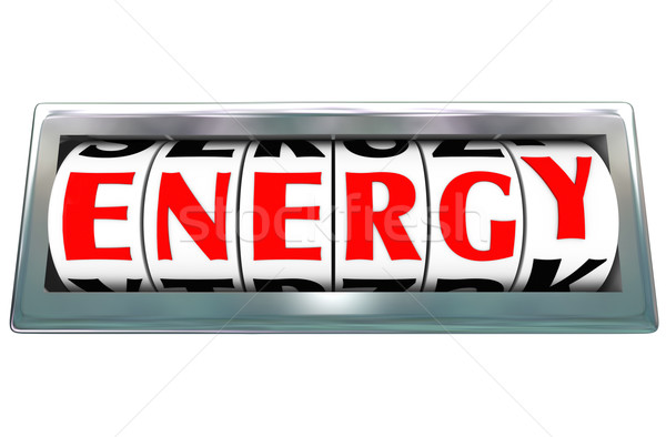 Energia palavra odômetro combustível poder Foto stock © iqoncept